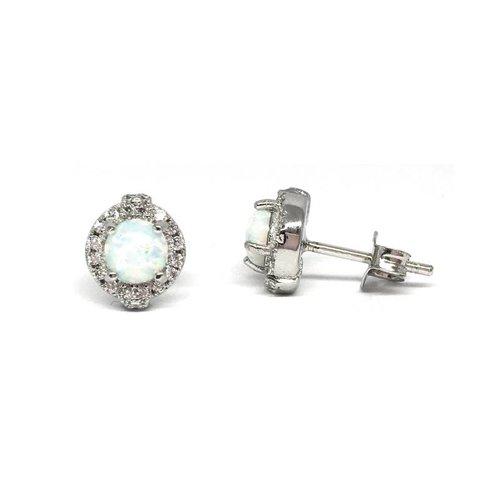 ZilverVoorJou Zilveren opaal zirkonia oorstekers