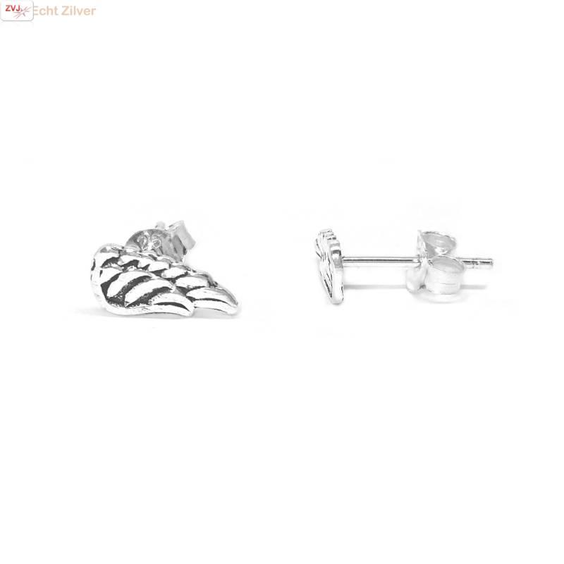 Zilveren kleine engel vleugel oorstekers-1
