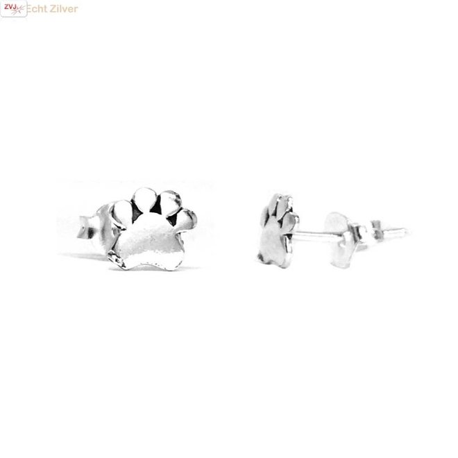 Zilveren mini pootafdruk hond kat oorstekers