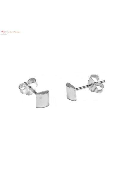 Zilveren mini halve cilinder oorstekers