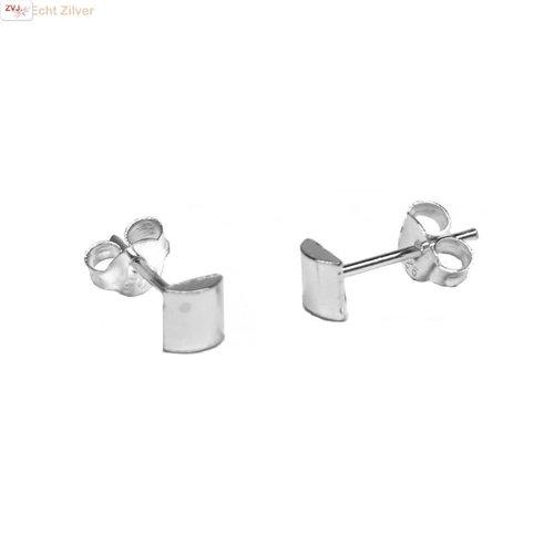 ZilverVoorJou Zilveren mini halve cilinder oorstekers