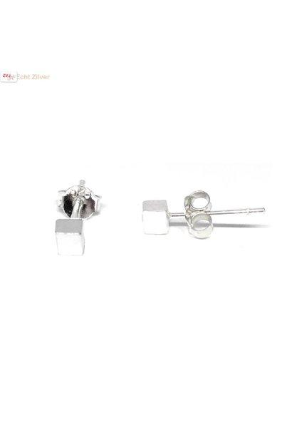Zilveren mini kubus oorstekers
