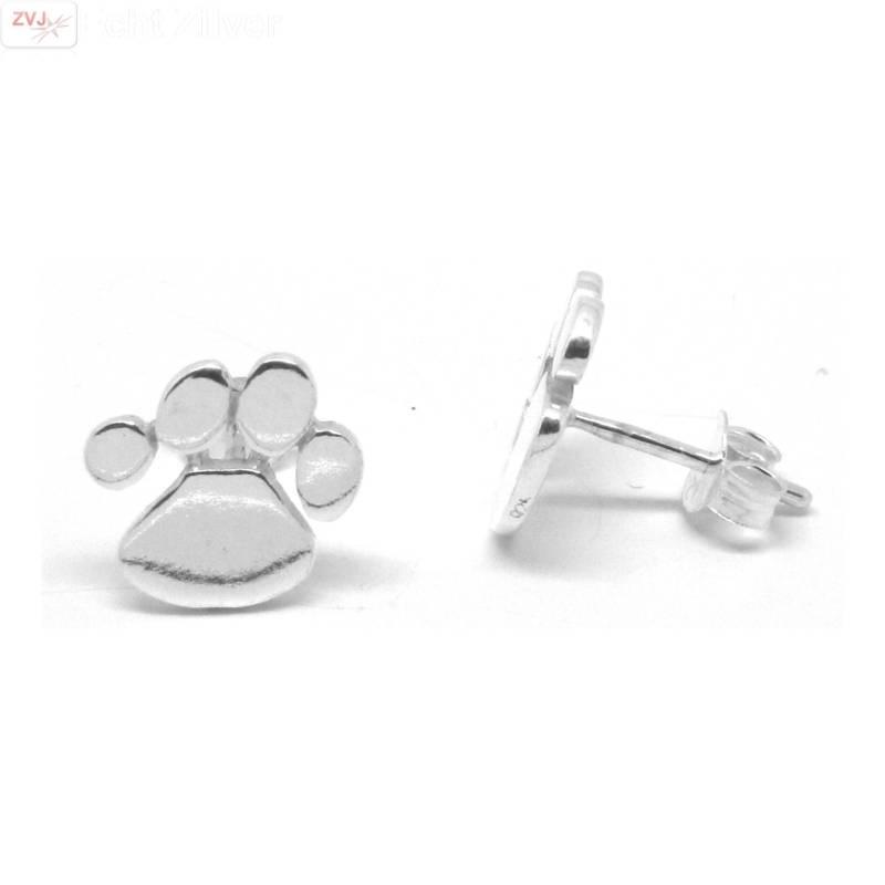 Zilveren oorstekers katten honden pootjes-1