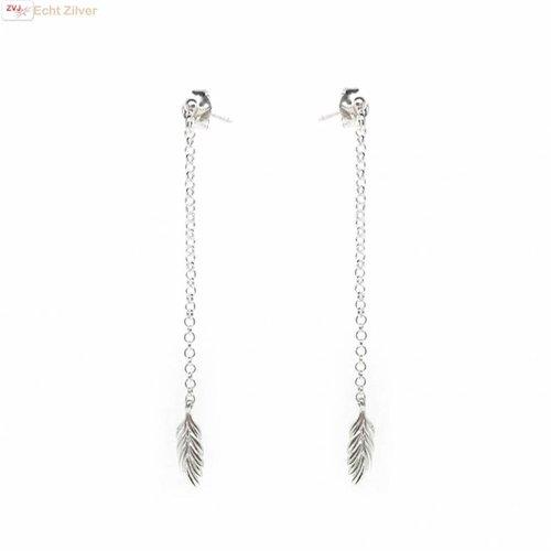 ZilverVoorJou Zilveren lange veer oorbellen stekertjes