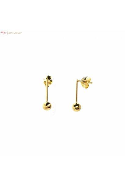 Zilveren kleine staaf bal geel goud vergulde oorstekers