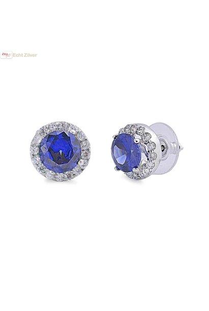 Zilveren paars blauwe Diana ronde oorstekers