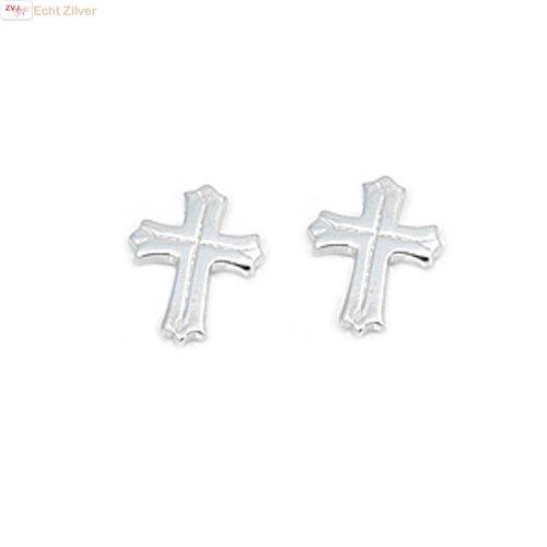 ZilverVoorJou Zilveren kruis oorbellen