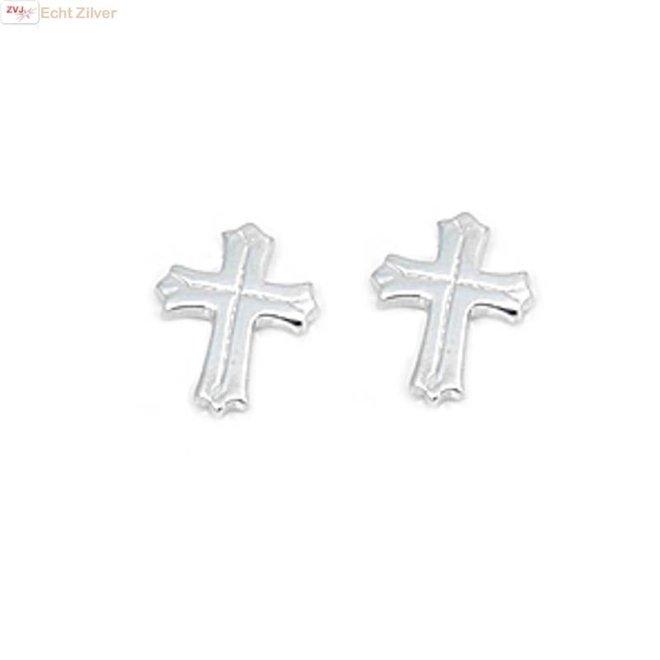 Zilveren kruis oorbellen