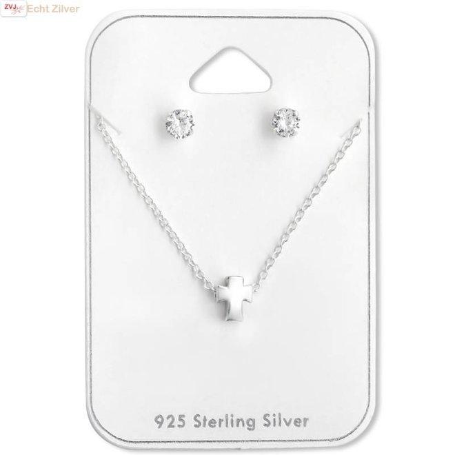 Zilveren kruis ketting met mini zirkoon oorstekers set