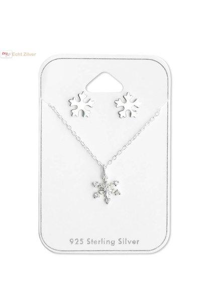 Zilveren sneeuwvlok set ketting en oorbellen