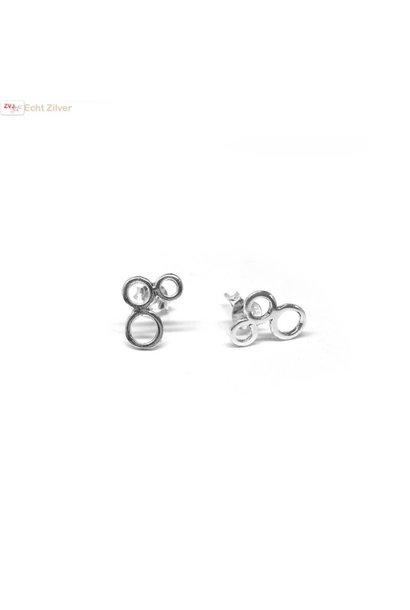 Zilveren kleine oorstekers met 3 cirkels