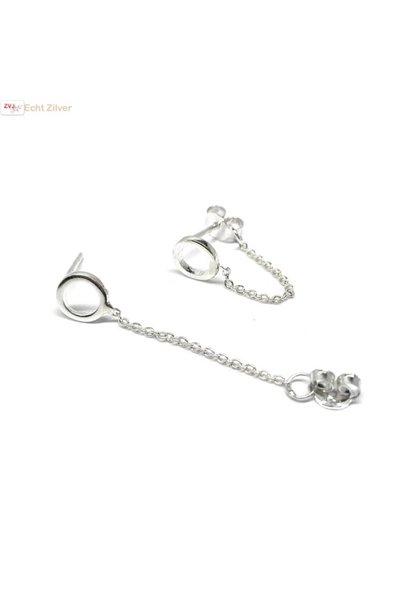 Zilveren cirkel ketting oorsteker