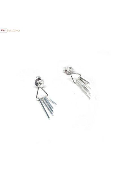 Zilveren kleine sier oorstekers driehoek met staafjes