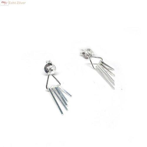 ZilverVoorJou Zilveren kleine sier oorstekers driehoek met staafjes