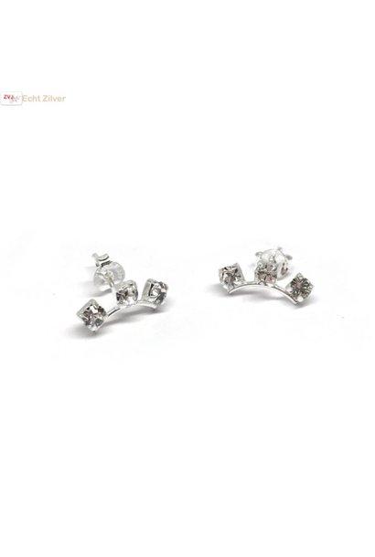 Zilveren witte kleine kristal oorstekers