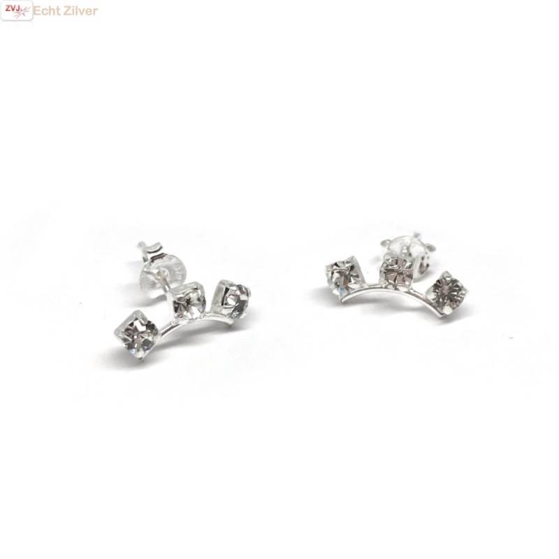 Zilveren witte kleine kristal oorstekers-1