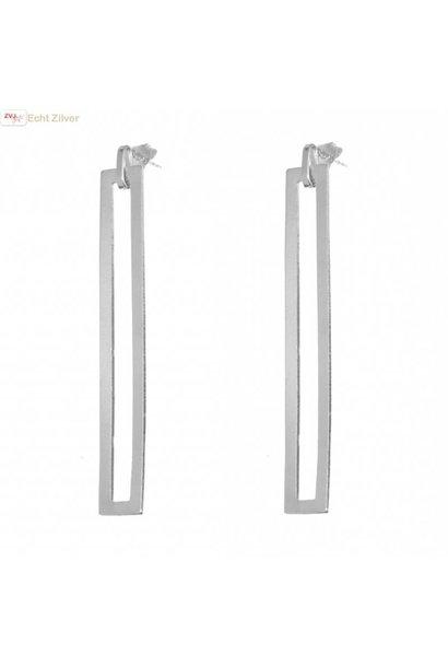 Zilveren strakke lange tijdloze oorstekers hangers