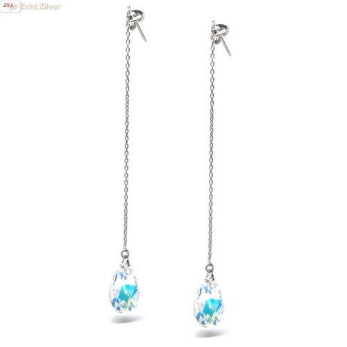 ZilverVoorJou Zilveren lange aurore boreale kristal oorbellen