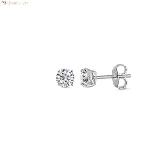 Zilveren 4 mm ronde witte zirkoon rhodium oorstekers