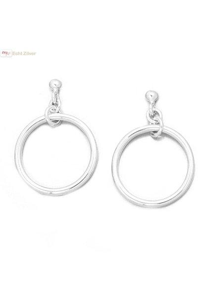 Zilveren oorstekers hangers met cirkel