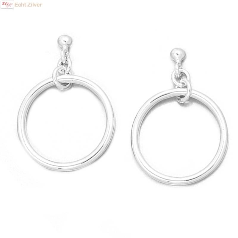 Zilveren oorstekers hangers met cirkel-1