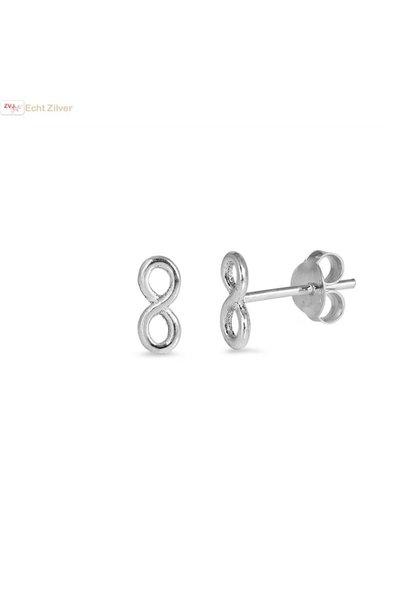 Zilveren infinity oneindige oorstekers