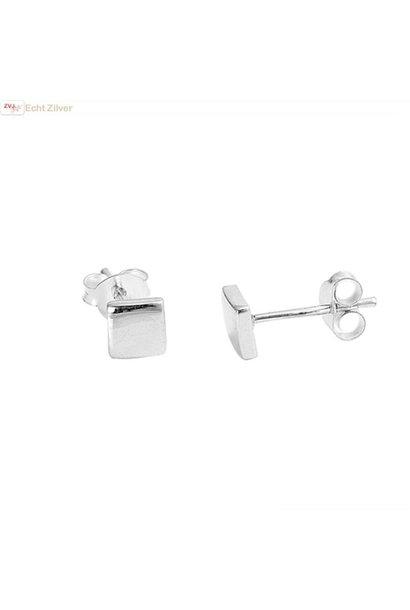 Zilveren kleine vierkant square oorbellen