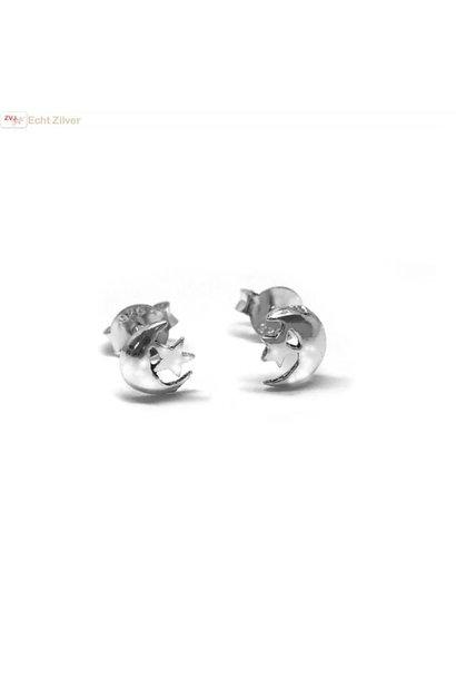Zilveren halve maan ster  oorbellen