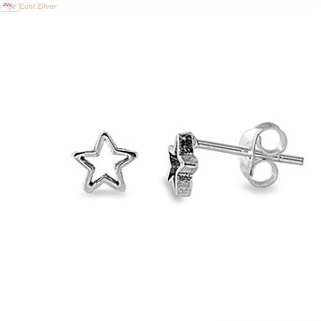 Zilveren open ster oorbellen