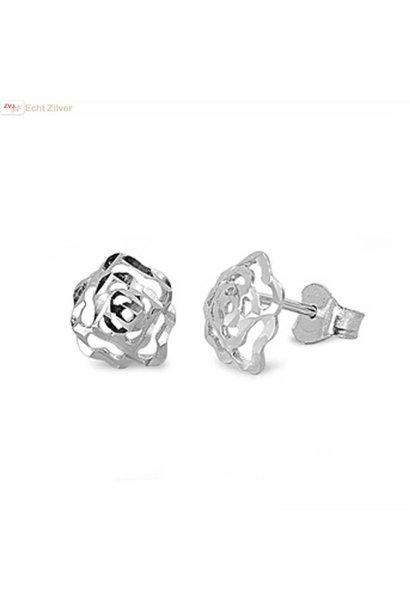 Zilveren roos oorbellen  roosjes