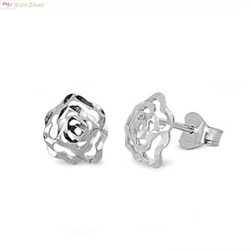 ZilverVoorJou Zilveren roos oorbellen  roosjes