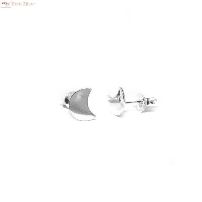 Zilveren kleine halve maan oorbellen