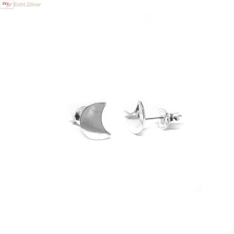 Zilveren kleine halve maan oorbellen-1