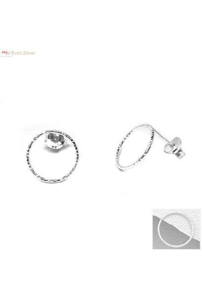 Zilveren cirkel oorstekers oorbellen