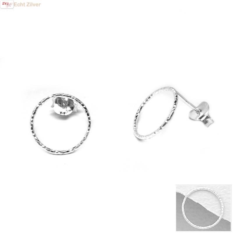 Zilveren cirkel oorstekers oorbellen-1