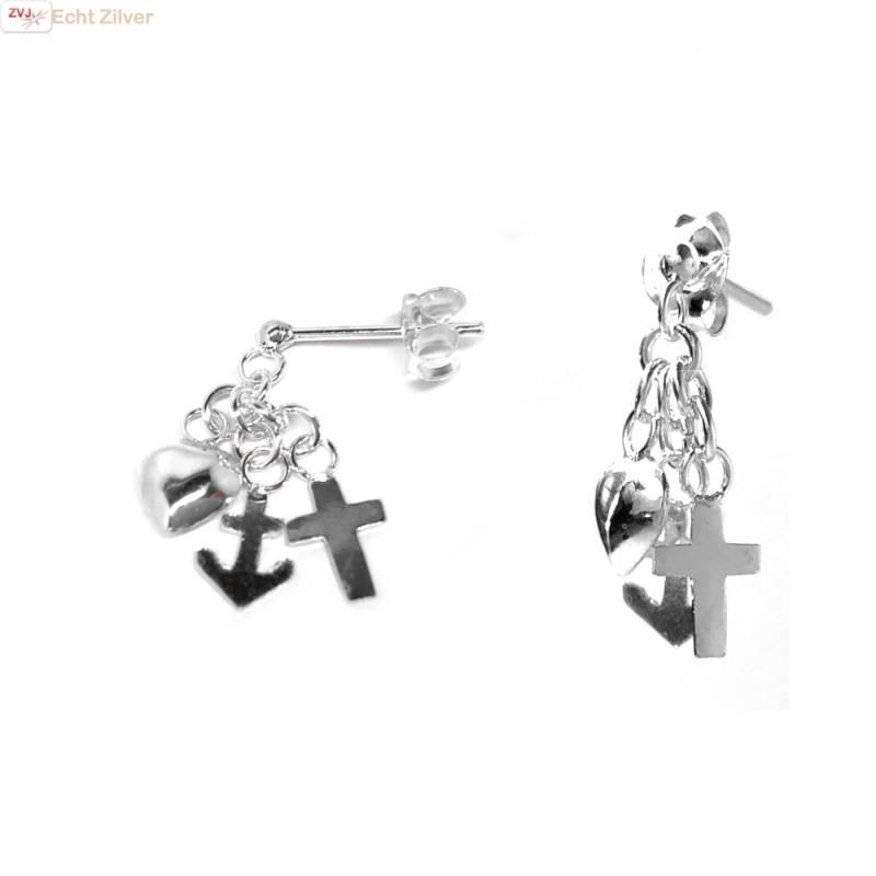 Zilveren hoop geloof en liefde oorstekers, hangers-1