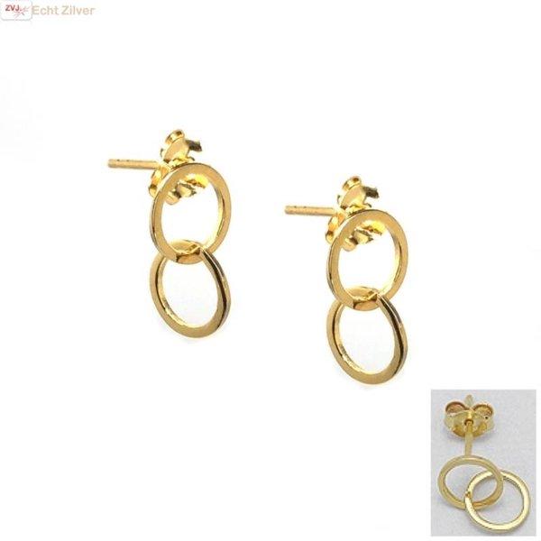 Goud op zilver 2 cirkels oorstekers