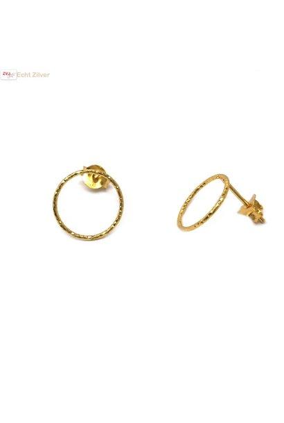 Goud op zilver cirkel oorstekers oorbellen