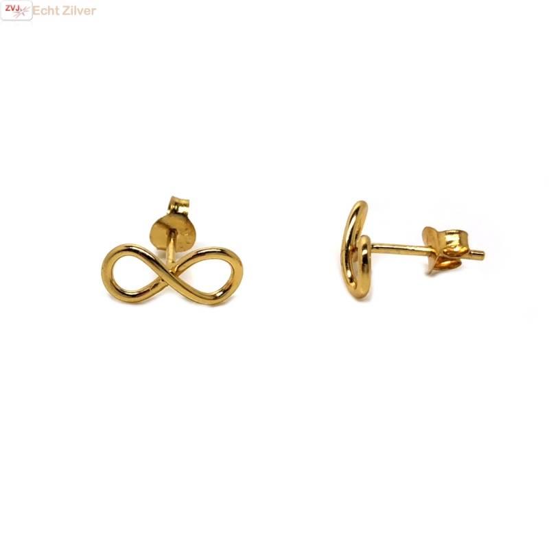 Goud op zilver infinity Lemniscaat oorstekers-1