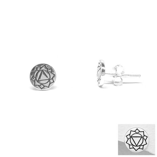 ZilverVoorJou Zilveren ronde oorstekers navel chakra Solar plexus