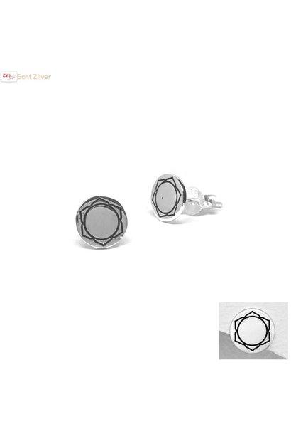 Zilveren ronde oorstekers sacraal chakra