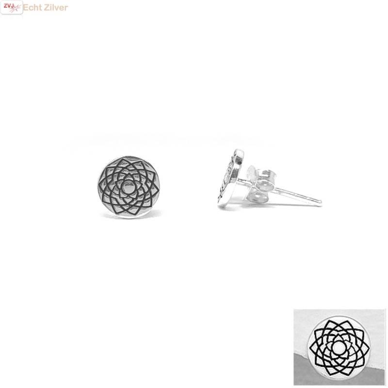 Zilveren ronde oorstekers kruin of crown chakra-1