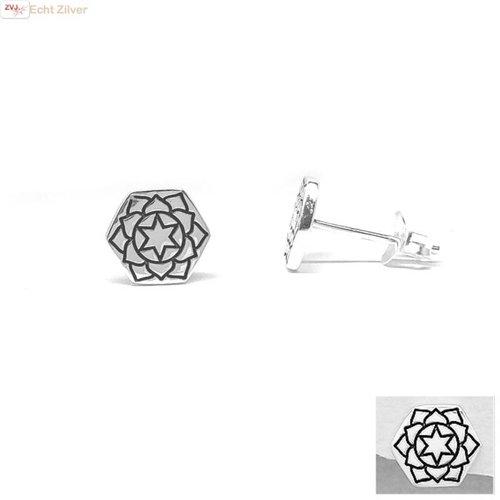 ZilverVoorJou Zilveren hexagon oorstekers hart chakra