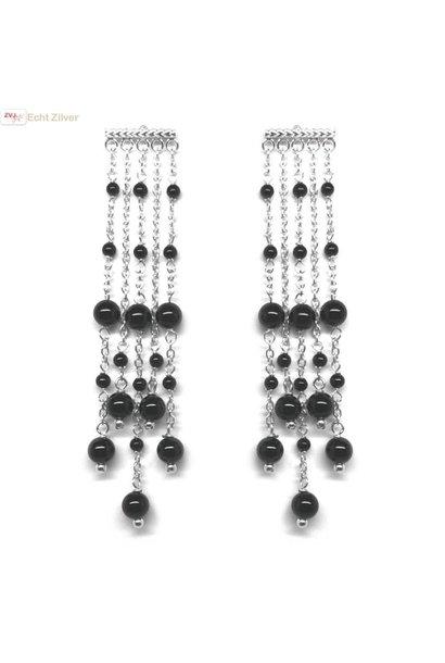 Zilveren sieroorhangers 5 strings met zwarte onyx