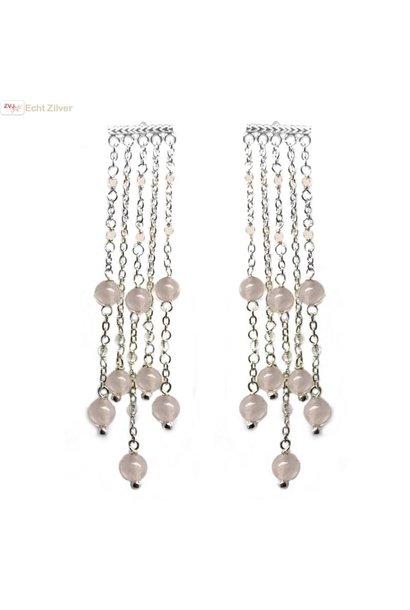 Zilveren sieroorhangers 5 strings met roze kwarts