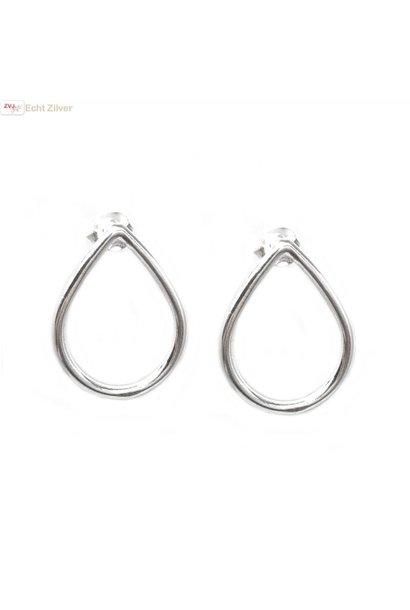 Zilveren open druppel oorstekers