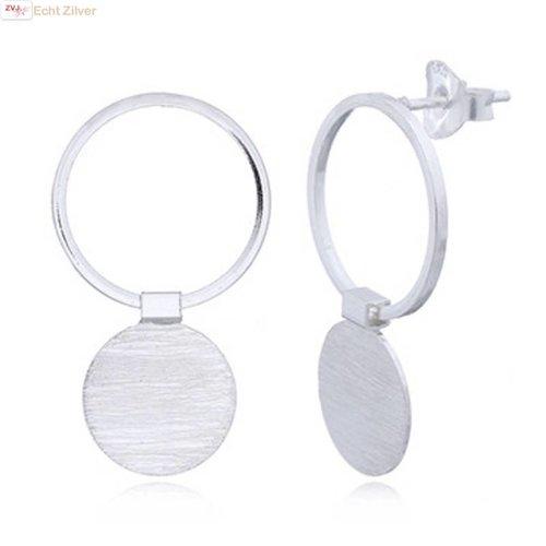 ZilverVoorJou Zilveren oorbellen 2 cirkels hoogglans mat zilver