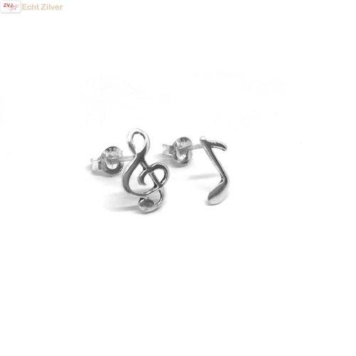 ZilverVoorJou Zilveren muzieknoot vioolsleutel oorbellen