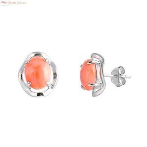 ZilverVoorJou Zilveren sier oorbellen met rood koraal