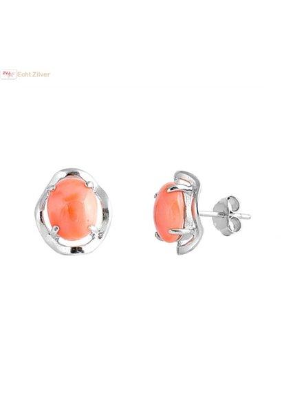 Zilveren sier oorbellen met rood koraal
